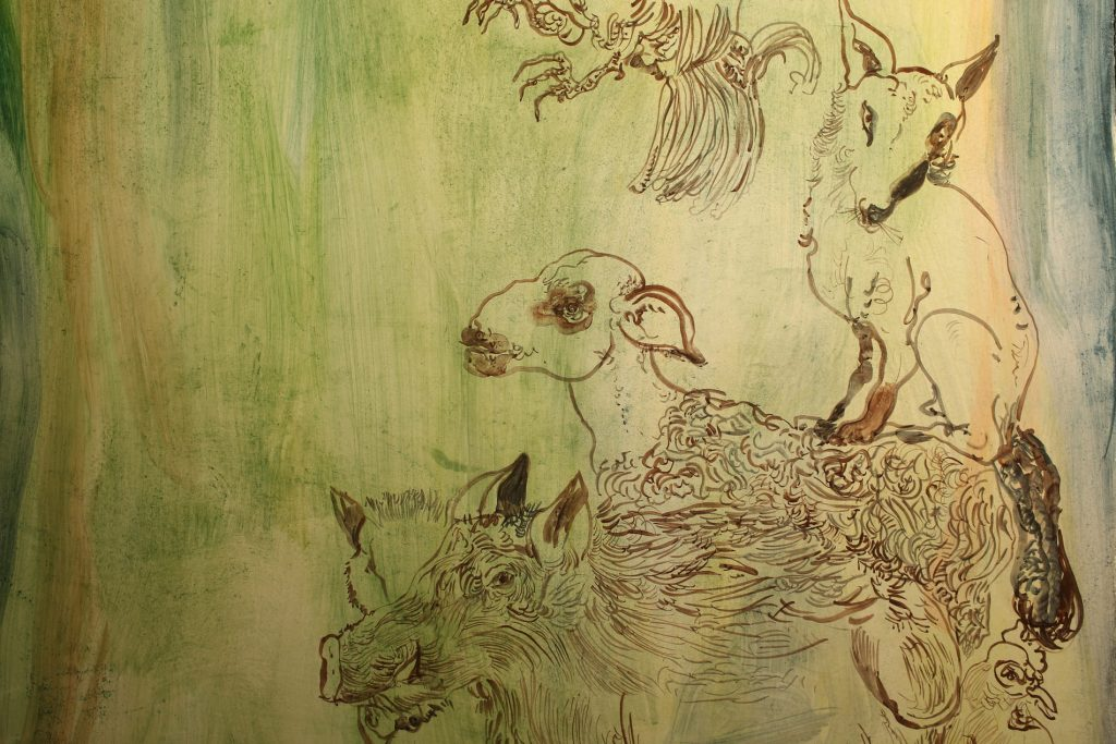 Pintures d'animals a la paret de l'església de Seurí